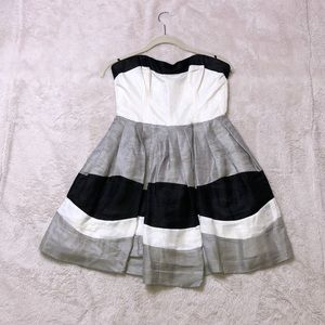 Cocktail black grey and white dress